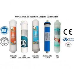 Su Arıtma 5 Mikron, GAC, 1 Mikron, Membran ve Detox Filtre Seti