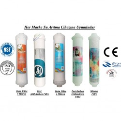 Su Arıtma 5 Mikron, GAC, 1 Mikron, Post Karbon ve Mineral Filtre Seti