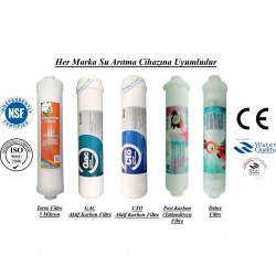 Su Arıtma 5 Mikron, GAC, CTO, Post Karbon ve Detox Filtre Seti