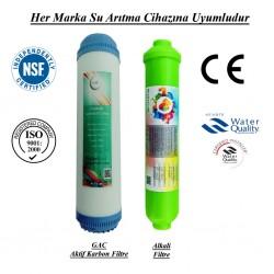 GAC Aktif Karbon+Alkalin Filtresi 2 li Takım Set