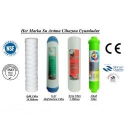 İplik+GAC Aktif Karbon+5 Mikron Sediment+Alkali Filtre