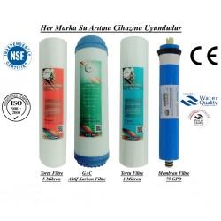 5 Micron Sediment+GAC Aktif Karbon+1 Micron Sedimen+Membran 75 GP