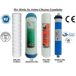 İplik+GAC Aktif Karbon+5 Mikron Sediment+Membran 75GPD