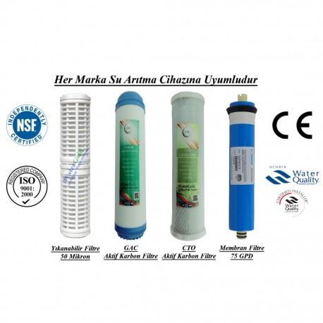 Yıkanabilir+GAC Aktif Karbon+CTO Aktif Karbon+Membran 75GPD