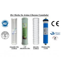 Yıkanabilir+CTO Aktif Karbon+İplik Filtre+Membran 75GPD