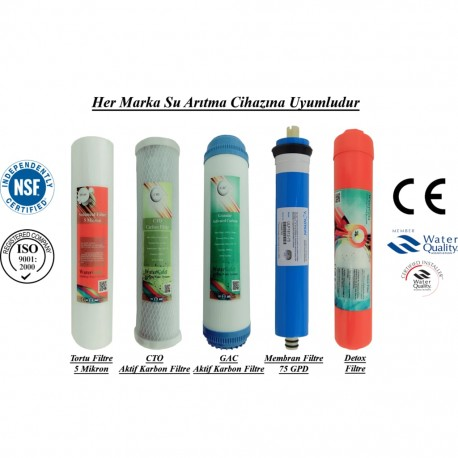 5 Mikron Sediment+GAC Karbon+CTO Karbon+Membran+Detox Filtre